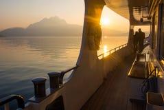 Zmierzch na Jeziornej lucernie, Szwajcaria Fotografia Stock