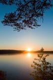 Zmierzch na jeziornym Chebarkul obrazy royalty free
