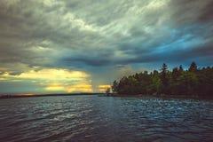 Zmierzch na Jeziornym Ladoga Zdjęcia Royalty Free