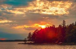 Zmierzch na Jeziornym Ladoga Zdjęcie Royalty Free