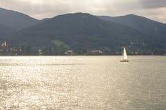 Zmierzch na jeziornym Tegernsee Fotografia Stock