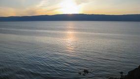 Zmierzch na jeziorze Obraz Royalty Free