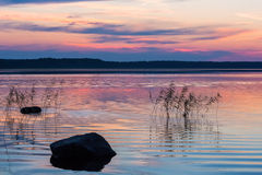Zmierzch na jeziorze Obrazy Royalty Free