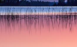 Zmierzch na jeziorze Obraz Stock