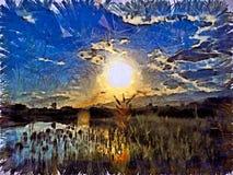 Zmierzch na jeziorze Obrazy Stock