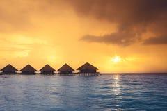 Zmierzch na Maldives wyspie Zdjęcie Stock