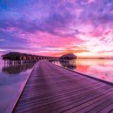 Zmierzch na Maldives wyspie, luksus wodne wille ucieka się i drewniany molo Piękny niebo, chmury i luksusu plażowy tło Zdjęcie Royalty Free