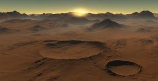Zmierzch na Mars Marsjański krajobraz, wpływów kratery na Mars ilustracja wektor