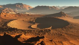 Zmierzch na Mars Marsjański krajobraz, wpływów kratery na Mars royalty ilustracja