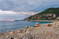 Zmierzch na Montenegro wybrzeżu Obraz Stock