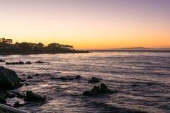 Zmierzch na Monterey zatoce, Kalifornia Zdjęcie Stock