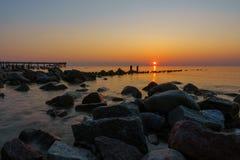 Zmierzch na morza bałtyckiego wybrzeżu Fotografia Stock