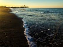 Zmierzch na plaży zdjęcia stock