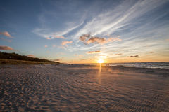 Zmierzch na plaży Zdjęcie Stock