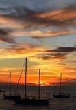 Zmierzch na plaży - Kanarowy Isalnds Zdjęcia Stock