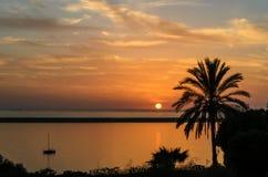 Zmierzch na plaży Mazagon, Huelva, Hiszpania Fotografia Stock