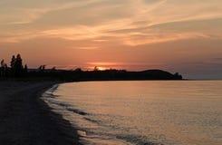 Zmierzch na pustkowie plaży zdjęcia royalty free