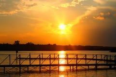 Zmierzch na rzece Zdjęcie Royalty Free