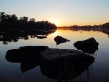 Zmierzch na rzece Zdjęcie Stock