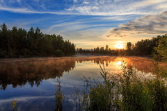 Zmierzch na rzece Fotografia Royalty Free