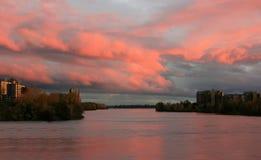 Zmierzch na St Lawrance rzece Fotografia Royalty Free