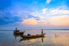 Zmierzch na Tri jezioro fotografia stock