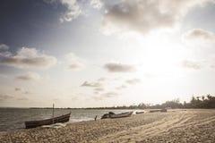 Zmierzch na tropikalnej wyspie Angola mussulo Fotografia Royalty Free