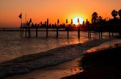 Zmierzch na Tureckiej plaży zdjęcia royalty free