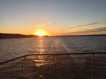 Zmierzch na Volga rzece Obrazy Royalty Free