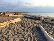 Zmierzch na wrak plaży, UBC kampus, Vancouver, kolumbiowie brytyjska, Kanada fotografia stock