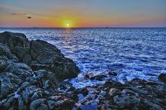 Zmierzch na wybrzeżu Zdjęcia Royalty Free