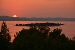 Zmierzch na wybrzeżu Adriatycki morze obraz stock
