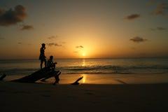 Zmierzch na wyspie karaibskiej Zdjęcia Royalty Free