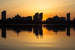 Zmierzch na Zaporoskiej rzece Fotografia Stock