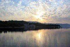 Zmierzch nad Adriatycką wyspą Zdjęcie Stock