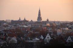 Zmierzch nad Amsterdam Zdjęcia Stock