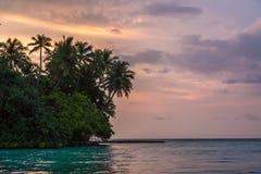 Zmierzch nad Biaadhoo wyspą Obrazy Stock