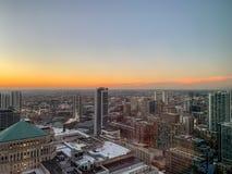 Zmierzch nad Chicagoland przyglądającym zachodem fotografia stock