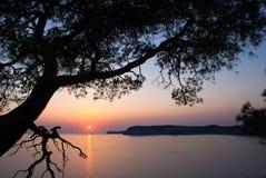 Zmierzch nad denną zatoką Zdjęcie Royalty Free