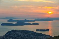 Zmierzch nad Dubrovnik Obrazy Stock