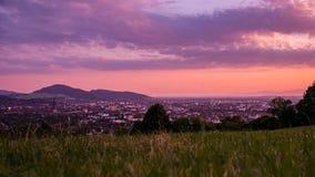 Zmierzch nad Freiburg zdjęcie stock