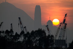 Zmierzch nad Hong Kong miastem Fotografia Royalty Free