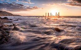 Zmierzch nad jetty zostaje Zdjęcie Royalty Free