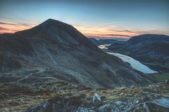 Zmierzch nad jeziorami zdjęcie royalty free