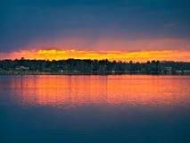 Zmierzch nad jeziorem w północnym Minnestoa Zdjęcie Royalty Free