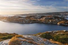 Zmierzch nad landscapenear różaną blanche latarnią morską Obrazy Stock