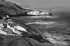 Zmierzch nad landscapenear różaną blanche latarnią morską Fotografia Stock