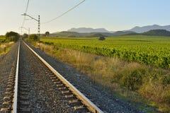 Zmierzch nad linią kolejową Obraz Royalty Free