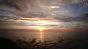 Zmierzch nad morze bałtyckie przylądek Kolka Latvia zbiory