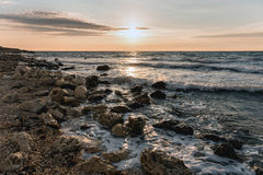 Zmierzch nad morzem w ciepłych colours Obrazy Stock